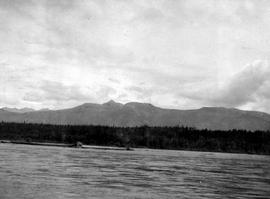 View of the Omineca Mountains as seen from the Peace River.