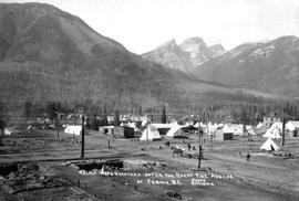 """Relief headquarters after the great fire of August 1, 1908 at Fernie, BC""."