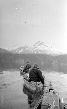 Towing canoes on Whitesail Lake.