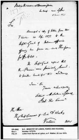 Letter from Sproat at Lytton, re F. Walker