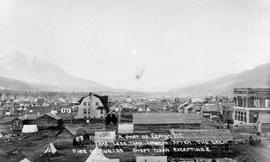 """A part of Fernie, BC; take [sic] less than one month after the great fire of 1 August 1908; swept clean excepting X"""