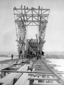 Construction of the Fraser River Bridge in New Westminster.