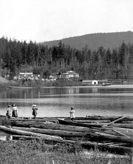View of Shawnigan Lake, including Koenigs Hotel; Newcombe Collection.