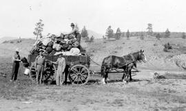 """Breaking camp, Downton's survey party on the Cariboo Wagon Road near Clinton""."