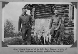 """Other 'natural resources' of the Bridge River Country.  A string of 100 trout cau..."