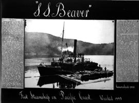S.S. Beaver, first steamship on Pacific Coast; loading supplies from log boom; original includes ...