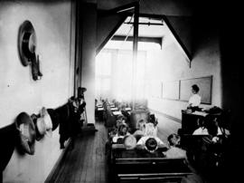 """Interior view, temporary quarters, primary division, Phoenix Public School""."