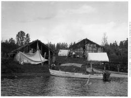 First nations fish houses; Siwash smoke houses; Babine Lake.