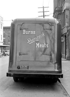 Burns and Co. meat truck, Store Street near the Hotel Janion, seen at right, Victoria