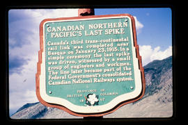 """Canadian Northern Pacific's Last Spike"" Stop of Interest sign"
