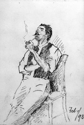 [Man Seated, Legs Outstretched, Smoking Pipe]