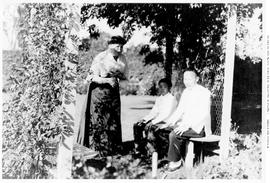 Mrs. Richard Wolfenden, nee Felicite Caroline Bayley, with her cook, Ah Suen and his son Ling, in...