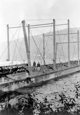 C.P.R. barge at Inkster-Russell granite quarry, N. Okanagan Lake, early 1920's