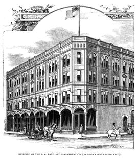 """Building of the BC Land and Investment Co. [ as shown when completed]."""