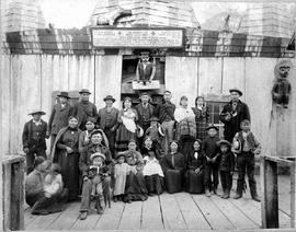 Bella Coola Indians In Front Of Longhouse
