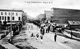 """1st July Celebrations, Moyie, BC""; hose reel race as part of the Dominion Day celebrations"