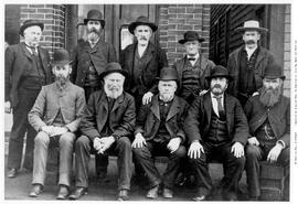 Group of unidentified 'Cariboo Diggers' in front of the Lion Hotel on Langley Street, b...