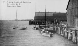 """A long stretch of canneries, Steveston, BC, September 1908."""