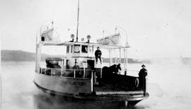 """Ferry on Francois Lake, central interior of British Columbia""."