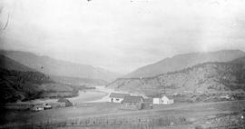 View of Lytton from the water tank looking north on the Fraser River.