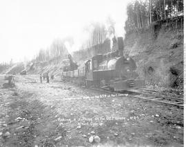 """Construction work on the GTP at Fort George; Making a cutting on the GTP grade at Fort Geor..."