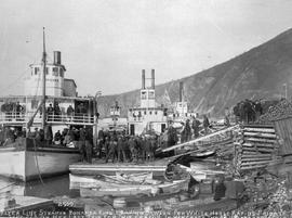 """Flyer Line Steamer Bonanza King leaving Dawson for White Horse Rapids, Friday, September 22..."
