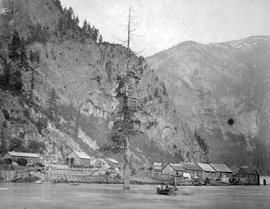 Andrew Onderdonk's shops, salmon cache and First Nations houses, Yale; from Onderdonk albums.