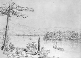 A sketch of the Fraser River at New Westminster.