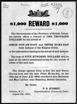 """$1,000 Reward: The Government of British Columbia hereby offers a reward of ONE THOUSAND DO..."