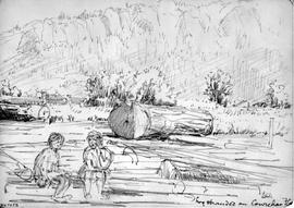 Log Stranded On Cowichan Flat [Also Showing Two Seated Figures]