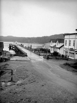 The road and government wharf; Hardy Bay.
