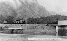 """First P.G.E. train, North Vancouver to Squamish, BC."""