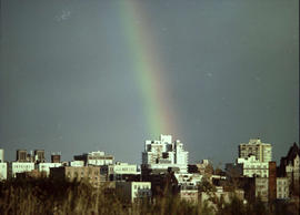 A rainbow over Victoria; the top of Christ Church Cathedral and St. Andrew's Presbyterian at...