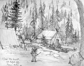 After The Hunt - Ram Mountain; Showing Camp And Tents.