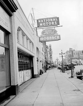 National Motors Ltd., 819 Yates Street, Victoria; the Capitol Theatre in the background at Blansh...