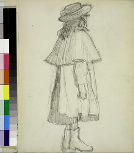 Girl standing, view from rear.
