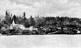 Government House, overlooking the Fraser River; Legislative Council Chamber on the far right, Gov...