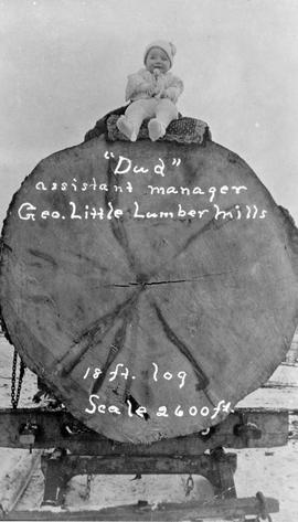 """Dud"" assistant manager, George Little Lumber Mills, 18 foot log, scale 2,600 feet."