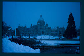 The legislative buildings in winter; Victoria.