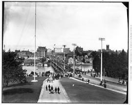 Victoria, View from Parliament Buildings towards James Bay Bridge, showing parade on bridge