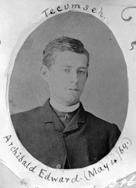 """Tecumseh; Archibald Edward, May 4/69""; son of Reverend and Mrs. E.F. Wilson."