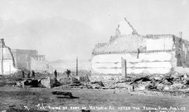 """The ruins of part of Victoria Avenue after the Fernie fire, August 1, 1908""."