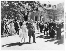 Princess Margaret and Lieutenant Governor Ross at a garden party at Government House, Victoria.