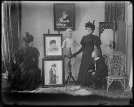 Tableau vivant featuring multiple (two) Hannah Maynards, grandson Maynard Macdonald and a photo s...
