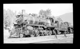 2-10-0, Decapod no. 5773, 3/4 left, closeup, detail fair, Revelstoke, BC 1944