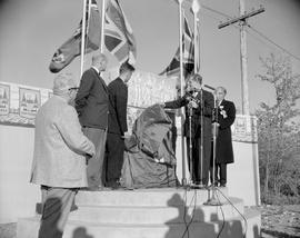From the inaugural trip of the Pacific Great Eastern Railway; Premier W.A.C. Bennett unveiling monument