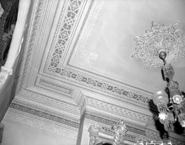 The ceiling of the drawing room at Hollybank; once the home of Mr. and Mrs. Robert Paterson Rithet, photo taken after Mrs. Rithet's death; 952 Humboldt Street, Victoria.