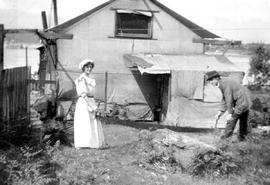 One of several canvas shacks at Kitsilano Beach; these were condemned and destroyed a year or two later.
