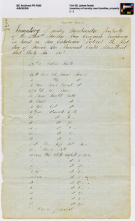Inventory of sundry merchandise, property [...]