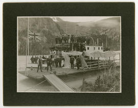 """A.B. pic-nic, Scotia Bay, Atlin, BC""; the barge ""Atlin"" and the ""SS Scotia"""